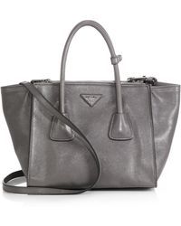 Prada Glace Calf Small Twin Pocket Tote - Lyst