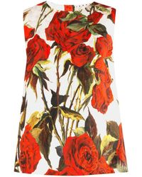 Dolce & Gabbana Rose-Print and Brocade Top red - Lyst