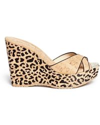 Jimmy Choo 'Perfume' Leopard Cork Platform Wedge Sandals - Lyst