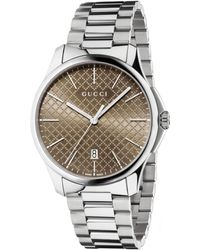 Gucci Mens Stainless Steel Bracelet Watch with Diamante Dial - Lyst
