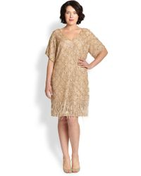 Kay Unger Beaded Ostrich-Feather Dress gold - Lyst