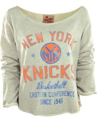 Sportiqe Women'S Long-Sleeve New York Knicks Crop Top - Gray