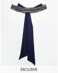 TFNC London - Wedding Chiffon Occasion Belt With Embellishment In Navy - Lyst