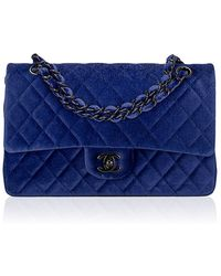 Madison Avenue Couture - Chanel Electric Blue Quilted Velvet Large Classic 2.55 Double Flap Bag - Lyst