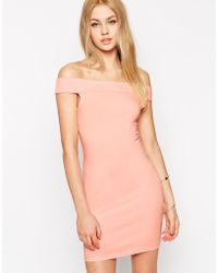 Asos Bardot Bodycon Mini Dress - Lyst