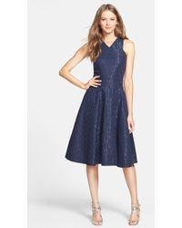 Cynthia Steffe Cotton Jacquard Fit & Flare Midi Dress blue - Lyst