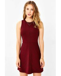 Cooperative Ponte Seamed A-line Dress - Red