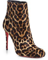 Christian Louboutin Fifi Leopard-Print Calf Hair Booties - Lyst