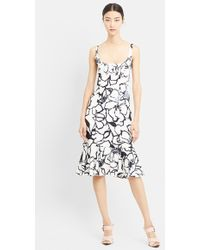 Nina Ricci Floral Print Flounced Silk Dress - Lyst