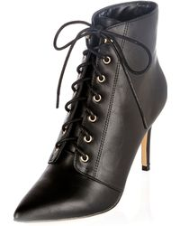 River Island Black Pointed Lace-up Boots