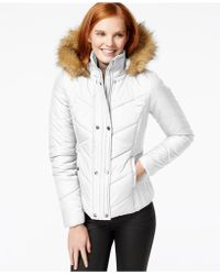 Krush Faux-fur-trim Quilted Coat - White