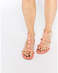 Forever Unique - Calipso Embellished Flat Sandals - Coral - Lyst