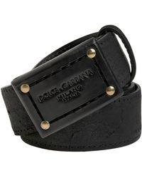 Dolce & Gabbana 35Mm Waxed Leather Belt - Lyst