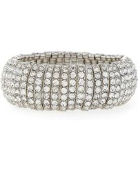 R.j. Graziano - Silvertone Pavé Stretch Bracelet - Lyst
