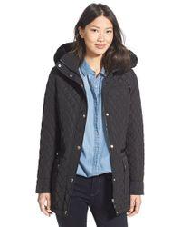 CALVIN KLEIN 205W39NYC - Faux Fur Trim Hood Quilted Barn Jacket - Lyst