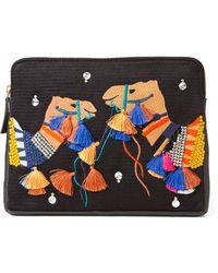 Lizzie Fortunato Embroidery Camel Clutch black - Lyst