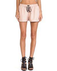 Blq Basiq - Blq Basics Faux Leather Shorts - Lyst