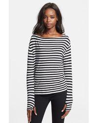 Enza Costa Stripe Cotton Blend Pullover - Lyst