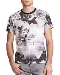 Diesel Skull & Rose Geometric-Print Cotton Tee black - Lyst