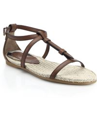 Burberry Westerdale Flat Leather Sandals brown - Lyst