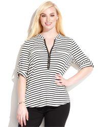 Calvin Klein Plus Size Striped Zipper-Neck Top - Lyst