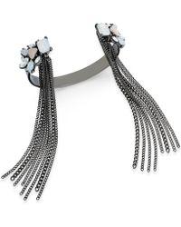 Danielle Nicole - Hematite-tone Crystal Fringed Cuff Bracelet - Lyst