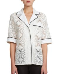 Emanuel Ungaro Embroidered Short-Sleeve Blouse white - Lyst