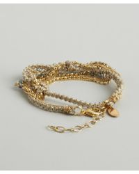 Sogoli - Gold Braided Chain And Fabric Beaded Bracelet - Lyst