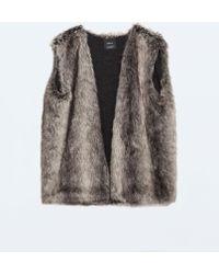 Zara Fur Gilet with Knit Lining - Lyst
