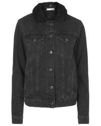 Topshop Moto Black Borg Western Jacket - Lyst