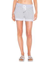 Stateside - Skinny Heather Grey Stripe French Terry Short - Lyst