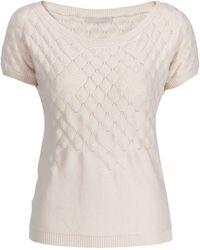 Stefanel Leaf Stitch Short Sleeve Sweater - Lyst