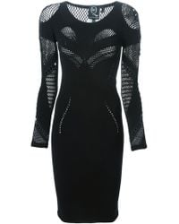 McQ by Alexander McQueen Mesh Detail Fitted Dress - Lyst