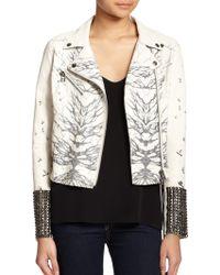 Haute Hippie Bird-Print Leather Motorcycle Jacket - Lyst