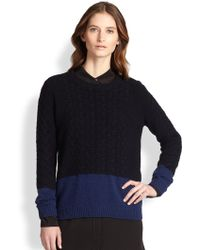 Vince Colorblock Cable-Knit Yak & Wool Sweater - Lyst