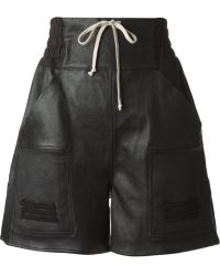 Rick Owens Black Leather Shorts - Lyst