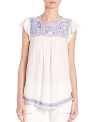 Joie | Rankin Rayon Embroidered Top | Lyst