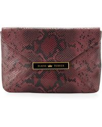 Elaine Turner - Marty Python-Pattern Leather Clutch - Lyst