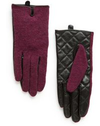 Mango Leather Wool-blend Gloves - Lyst