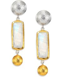 Gurhan Lentil Rainbow Moonstone, 24K Yellow Gold & Sterling Silver Dangling Storm Double-Drop Earrings - Lyst