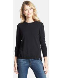 Chelsea28 Nordstrom Mixed Media Eyelet Back Sweater - Black