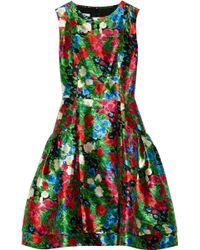Oscar de la Renta Printed Silk-mikado Dress - Lyst