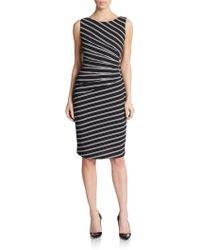 Ivanka Trump Ruched Stripe Dress - Lyst