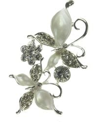 Indulgence Jewellery - White And Crystal Double Butterfy Brooch - Lyst
