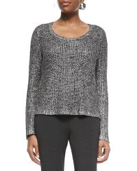 Eileen Fisher Shimmer Scoop-neck Long-sleeve Box Top - Lyst