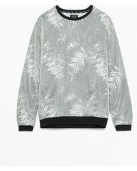 Zara Nylon Coated Sweatshirt gray - Lyst
