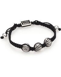 King Baby Studio   Sterling Silver & Cotton Cord Drawstring Bracelet   Lyst