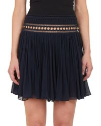 Chloé Ring-Embellished Pleated Silk Skirt blue - Lyst