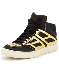 Alejandro Ingelmo Leather Metallic Plate Hightop Sneaker Blackgold - Lyst