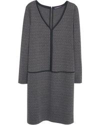 Violeta by Mango Contrast Trim Dress - Grey
